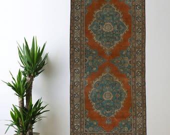 Turkish Runner Rug Oushak Decorative Handwoven Rug Turkish Antique Rug 2.8 x 6.5 ft F-199
