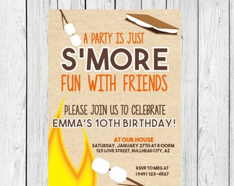 S'mores Birthday invitation ***Digital File*** (Smores-bday01)