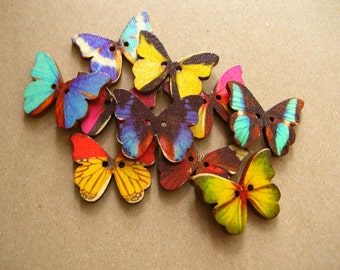 10 Colorful Wooden Butterflys - 10 Butterflys