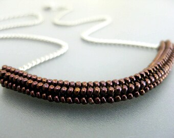 Beaded Necklace / Herringbone Necklace / Tube Necklace in Copper / Beadwork Necklace  / Beadwoven /  Copper Necklace / Seed Bead Necklace /