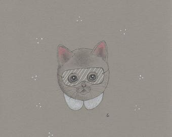 Cute kitty cat with stripey mask art print
