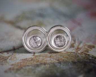 Round, sterling silver studs, organic, stud earrings, handmade, layered, disc, patterned, textured, for him, for her