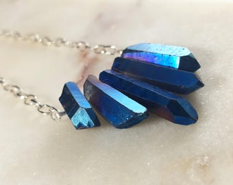Titanium Coated Natural Quartz Spike necklace
