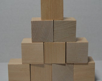 """1-1/4"""" Solid Wood Blocks - Set of 10 - Unfinished - Wooden Cube - Craft Blocks - 1-1/4 Inch Block - 1-1/4 Inch Cube - Kids Building Blocks"""