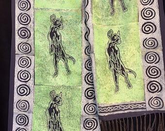 "Unique one-of-a-kind handprinted lino-cut print silk scarf: ""Flying dog"" 10""x 56"" Art to Wear"