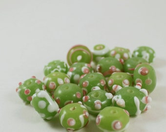 Lime Green, White, and Pink Lampwork Glass Rondelle Beads, Polka Dot