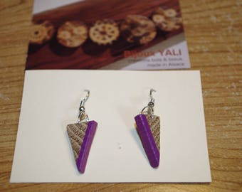 Earrings are made of wood, oak, painted