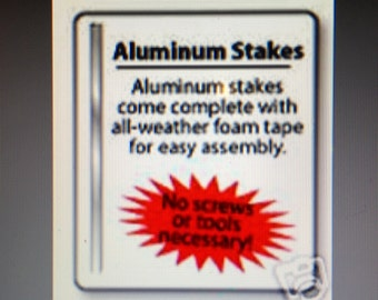 2 Aluminum ...Security Alarm Yard Sign Stakes + Heavy Duty 3M Double Sided Tape