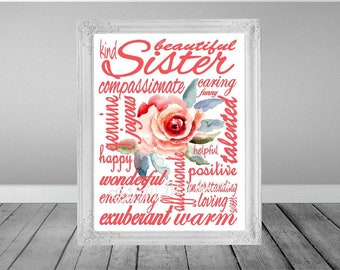 Sister Subway Art, Sister Word Art, Sister Gift, Sister Birthday Gift, Birthday Card, Instant Download, PRINTABLE DIGITAL FILE