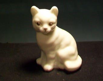 Fenton White Hand Painted Cat