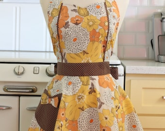 Retro Apron Yellow and Mustard Floral MAGGIE
