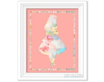 Alice In Wonderland Art Print Pastel Wonderland Nursery Decor Home Decor Children's Room Art Nursery Art Wall Art Baby's Room Gift (No.304)