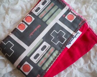 Baby burp cloth - Red vintage nintendo hand dyed burp cloth