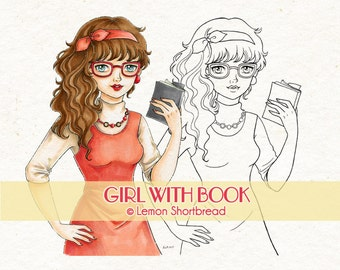 Digital Stamp Girl with Book, Digi Download, Spectacles Glasses Librarian, 1970s Retro Fashion, Bookworm, Coloring Page, Scrapbooking