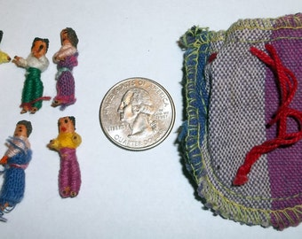 6 GUATEMALAN Worry DOLLS In Bag Vintage Collectible