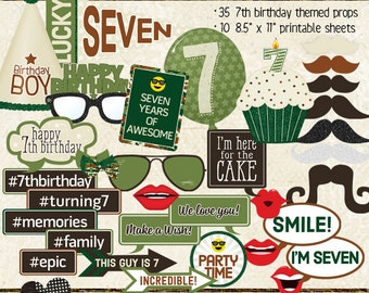 Photo Booth Props, HAPPY 7TH BIRTHDAY, boy, printable props, instant digital download, camo, green, brown, birthday party