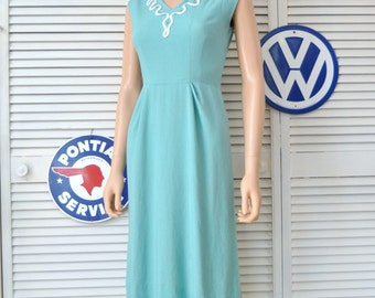 Vintage 60s Womens Wiggle Dress Bodycon Rhinestone & ric-rac trim @ Neckline Sleeveless Teal Blue-Green Small as is Costume Distressed 0 2