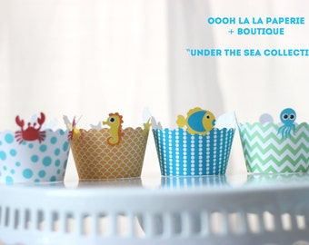 Under the Sea Cupcake Wrappers- Set of 12 MADE TO ORDER