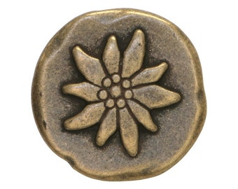 3 Mountain Flower 3/4 inch ( 20 mm ) Dill Metal Buttons Antique Brass Color