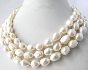 pearl necklace - baroque pearl necklace, white freshwater pearl long necklace,10-12 mm white pearl necklace