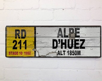 Vintage Cycling French Road  Sign Tour de France