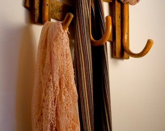 Reclaimed and rustic walking stick coat and hat rack (3 Stick)