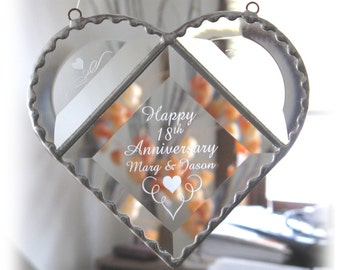 Anniversary Heart Bevel, Wedding, Anniversary, or Birthday  Glass Bevel Heart Suncatcher  (small), Custom beveled glass ,  C113