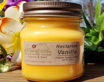 NECTARINE VANILLA BEAN Candle - Peach Candles, Vanilla Candles, Fruit Candles, Orange Candles, Coconut Candles, Summer Spring Candles