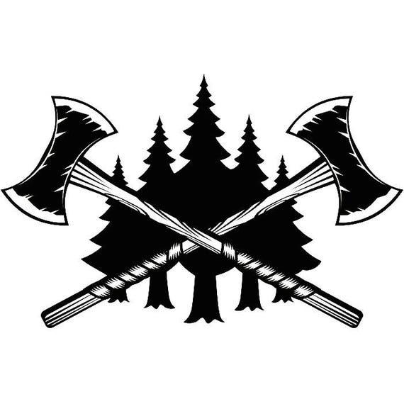 lumberjack logo 9 double headed axes crossed viking tool chop rh etsy com Crossed Tomahawk Clip Art Crossed Tomahawk Clip Art
