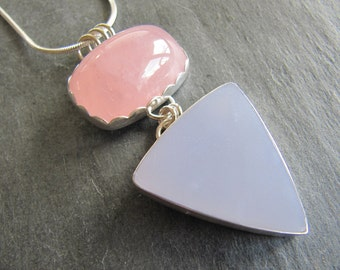 Necklace of Blue Chalcedony and Rose Quartz in Sterling Silver