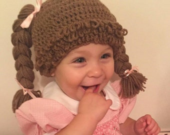 Cabbage patch wig hat. cabbage patch kid wig for baby, cabbage patch hat with braids, cabbage patch crochet hat, cabbage patch baby costume,