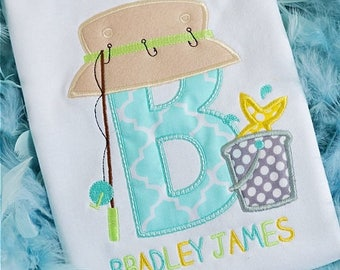 Personalized Fishing Initial Applique Shirt or Bodysuit Boy or Girl