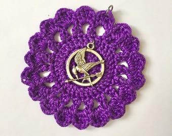 Crochet Pendant Necklace / Mockingjay Charm Pendant / Crochet Pendant / Mockingjay Necklace / Handmade Jewelry / Crochet Jewelry / Gifts