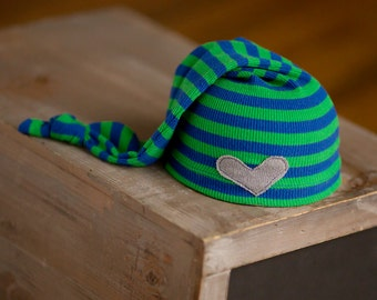 Newborn Hat, Newborn Boy Hat, Blue and Green Striped Hat, Newborn Photo Prop, Newborn Boy Prop, Newborn Hospital Hat, Upcycled Newborn Hat