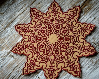 Ornament Mandala Patch, Different Colours, Flower Star Mandala Embroidery, Ornament Mandala Aufnäher, verschiedene Farben, HANDMADE, 21 cm