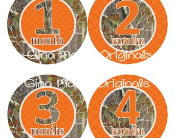 Baby Monthly Milestone Growth Stickers in Camo with Orange Dots MS555 Baby Boy Girl Shower Gift Nursery Oak Hunter Woodland Trees