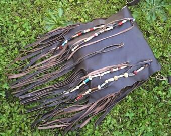 Leather fringe bag, bohemian bag, festival bag, boho leather bag, hippie fashion burning man leather bag, fringe bag with beads, gypsy bag