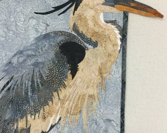 Blue Heron, Quilted Blue Heron, Blue Heron Wallhanging, Fiber Art Wallhanging, Wall Art,