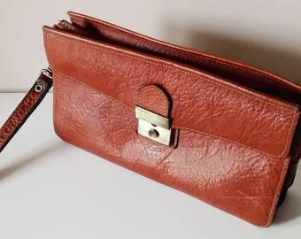 Vintage bag, clutch bag, wallet - faux leather - 1970's