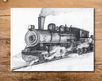 Train Nursery Art - Train Nursery Decor - Train Art - Train Kids Room - Train Themed Kids Room - Train Artwork - Train Art Print -Locomotive