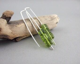 Olive Green Cube Earrings - Chartreuse Czech Glass and Sterling Silver Modern Earrings