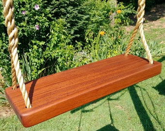 Wood Tree Swings-AGED Cherry Thick Swing-Rope Swing-Wooden Tree Swing-15 feet of rope per side