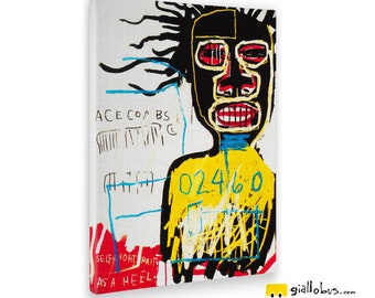 Modern paintings-Jean Michel Basquiat-Self Portait As A Hell-Yellow BUS