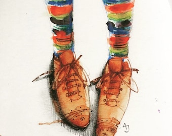 FREE POSTAGE today only!  NEW Stripey Socks a Linited Edition Print by Andrea Joseph