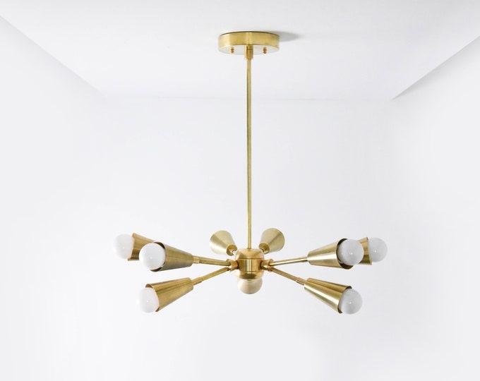 Raw Brass Gold Modern Chandelier 9 Bulb Cone Cover Spike Light Pinwheel Sputnik Mid Century Industrial Hanging Light UL Listed