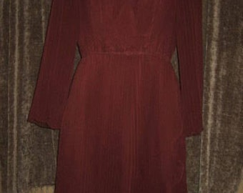 Vintage 60s 60s Jack Bryan Maroon accordian pleats chiffon party dress  by jeansvintagecloset on Etsy