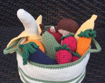 Fruit and Vegetable Set with Basket Amigurumi Crochet Toy Play Food Waldorf Montessori