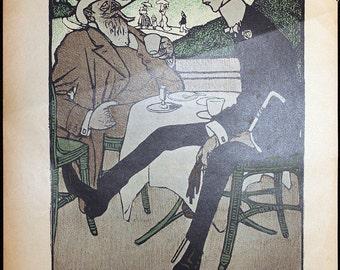 Original 1903 Bruno Paul Lithograph Page Illustration from Simplicissimus #5 * Vintage German Art Nouveau / Art Deco Print Rare Print