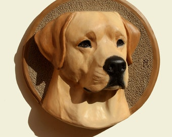Hand painted  yellow Labrador Retriever dog PERITAS wall sculpture statue fine art relief