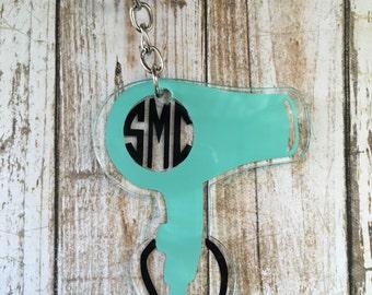Monogram Acrylic Keychain, Personalized Keychain, Hairdresser Keychain, Custom Keychain, Hair Stylist Keychain, Key Accessories